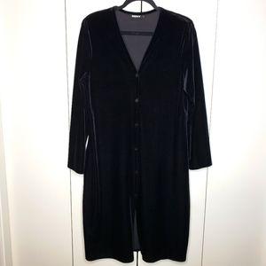 DKNY Black Velvet Button Front Dress